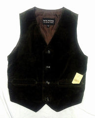 New- Wisons Leather Brown 100% Suede Leather Fashion Vest- size S