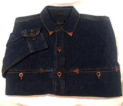 New- Robert Comstock Blue 100% Cotton Denim Fashion Shirt- szie M