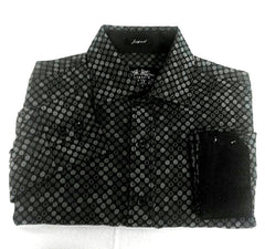 New- Excalibur EX Youge- Black & Gray Polka Dot Woven Jacqaurd Fashion Shirt- size XL