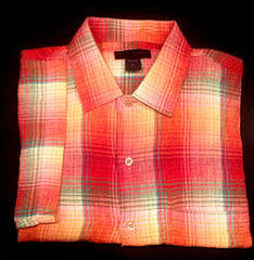 Scott Barber- Madras Plaid, SS-BD 100% Linen Fashion Shirt- size XL