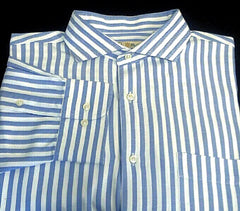 Peter Millar- Blue & White Herringbone Stripe Cotton Twill Dress Shirt- size L