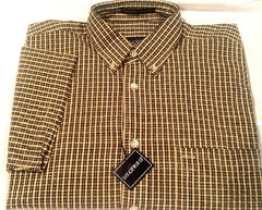 New- Siegfried Olive Green/Yellow Seersucker Check BD Fashion Shirt- size S