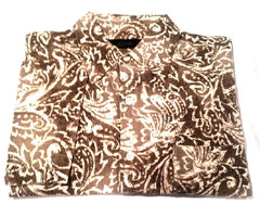 Tasso Elba- Brown Silk/Linen Abstract Print Fashion Shirt- size M