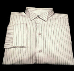 Ike Behar Evening- White/Black Stripe, Wing Tip FC Formal Shirt- Size 17x35
