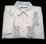 Vintage 'RED'- White/Blue Embroidered Cotton Floral Fashion Shirt- size M