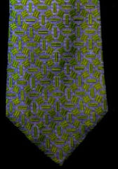 Vintage Brittany House of London- Green/Blue Geometric Silk Tie
