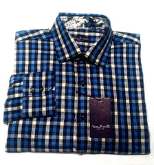 New- Marco Brunelli of Italy- Blue/Black/White Check Fashion Shirt- size M