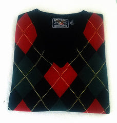 New- American Living- Black Argyle Lambs Wool Sweater Vest- size XL