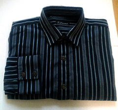 New- 7 Diamonds-Blue/Black Stripe Embroidered Fashion Shirt- size M