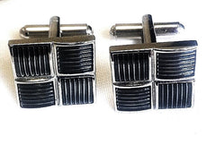 Square Silver/Gray Enamel Filled Geometric Cuff Links