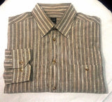 Ike Behar- Brown Stripe/Paisley 100% Cotton BU Dress Shirt- size L