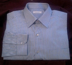 New- Ermenegildo Zegna- Blue Stripe 100% Cotton Dress Shirt- size XXL
