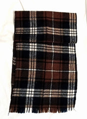 Vintage Classic- Brown Plaid Wool Fashion Scarf
