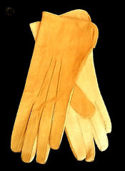 New- Women's Khaki Tan 100% Soft Leather Driving Gloves- size 6.5