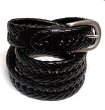 New- Black Braided Leather Belt- Size 36