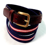 Navy/Red/White Stripe Canvas/Leather Casual Belt- size:(38-40)