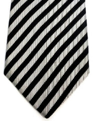 XMI- Black/Silver Diagonal Stripe 100% Woven Silk Tie