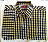 Haupt of Gerrmany- Navy Blue/Yellow Check Cotton Shirt- size L (16.5)