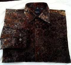 Haupt of Gerrmany- Brown Floral Woven Fashion Shirt- size M (15.5)