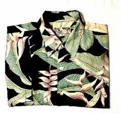 Tori Richard- Black Silk/Rayon Floral Leaf Print Resort Shirt- size L