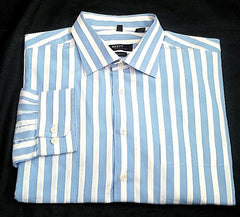 Haupt of Germany 'Evolution'- Blue/White Stripe Cotton Casual /Dress Shirt- size (17.5) XL