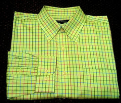 Oliver Harris-Mint Green Check-100% Cotton Twill, BD Fashion Shirt- size L