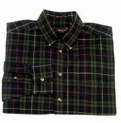 F.A.MacCluer-Green/Navy Plaid,100% Harvest Twill Cotton Fashion Shirt- size M