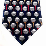 New- Christian Pelini-Navy,'Golf Ball & Tee' Novelty Silk Tie
