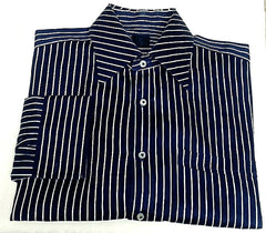 New- Enzone of Italy-Blue/White Stripe,100% Cotton Twill,FC Fashion Shirt- size (16.5x34/35)