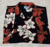 Hilo Hottie- Black Floral, 100% Silk, Hawaiian Camp Shirt- size XL
