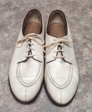 Vintage 'Kassis Bros.'- Ivory Handcrafted Leather Split-Toe Oxford Shoes- size 9.5D