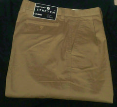 New- Bachrach British Tan, Pleated Stretch Chino Pants- size 36x32