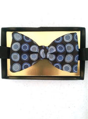 New- 'Dion' Blue & White Bow Tie