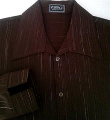 Vintage Versace Couture Brown Fashion Shirt- Size L