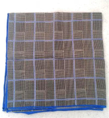 New- Blue/Black Plaid Silk Pocket Square