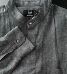 Ike Behar Gray Banded Collar Fashion Shirt- Size L