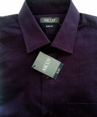 New- Ascot Purple Check Slim Fit Fashion Shirt- Size M (39cm)