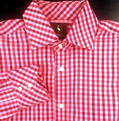 TailorByrd- Raspberry Gingham Check Fashion Shirt- Size L