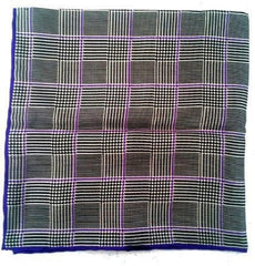 New- Purple/Black Plaid Silk Pocket Square
