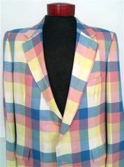 Harry Lebow Pastel Plaid Sport Coat- Size 44L
