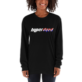 Black Logo Long Sleeve Fitted Crew - HyperDyed Wheels