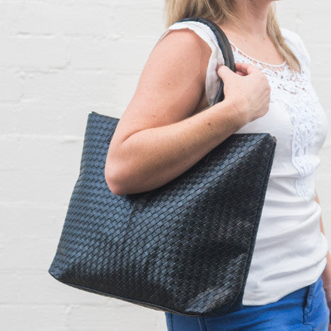 WOVEN FAUX LEATHER tote bag
