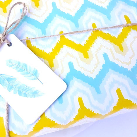 blue and yellow zip zag wrapping paper