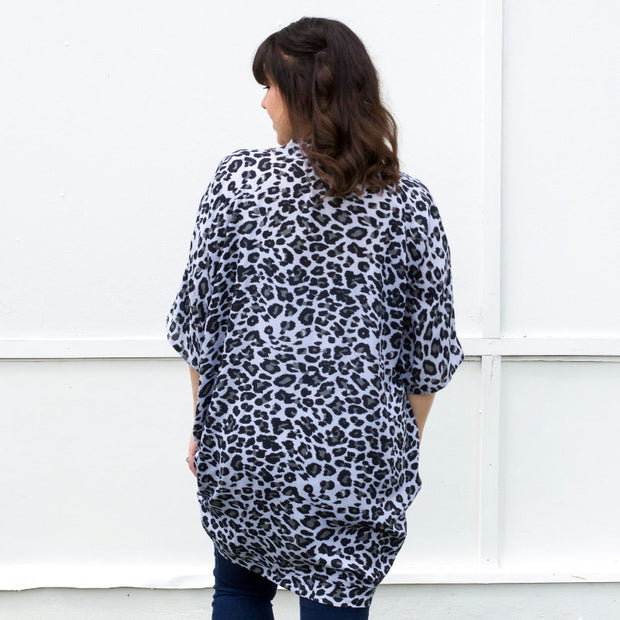 Grey leopard print breastfeeding top