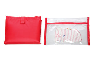 red nappy change mat and wet bag