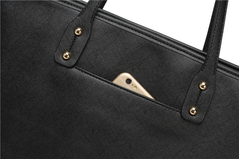 mobile phone pocket on a black corporate nappy bag