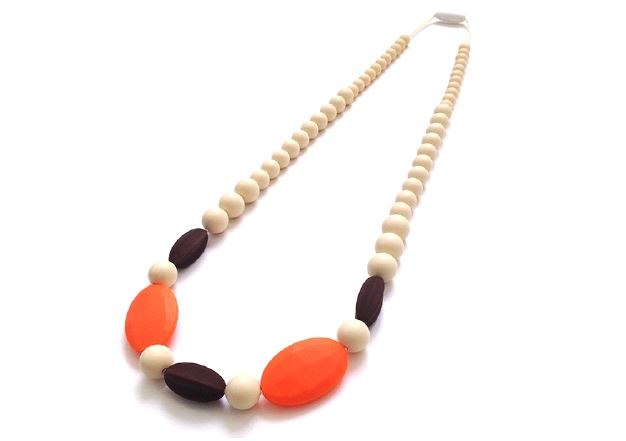 cream and orange silicone teething necklace