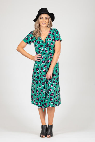 White Chalk - Janey Dress - Green Animal SALE