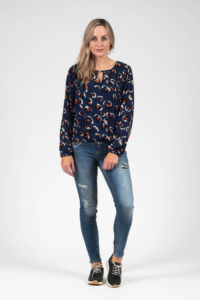 White Chalk - Katya Top Blue Animal