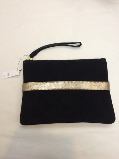 Stella & Gemma Suede Clutch - Black with Gold Stripe